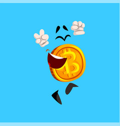 Funny happy bitcoin character having fun crypto vector