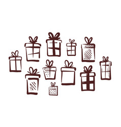 gifts with bow set of icons doodle vector image