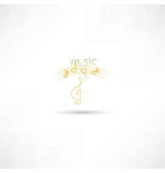 Gold treble clef and music symbols vector