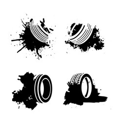 grunge tire elements vector image