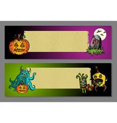 Halloween blank space web banners set vector