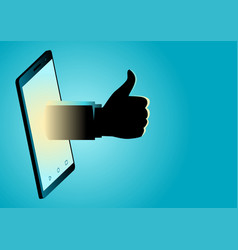 hand appeating from smart phone doing thumb up vector image