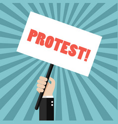 Hand holding protest sign vector