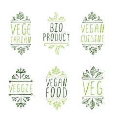 Hand-sketched typographic elements Vegan product vector