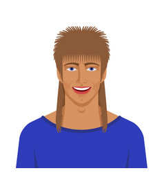 handsome man with mullet haircut vector image