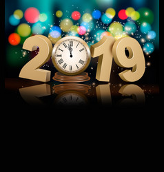 Happy new year holiday background with 2019 a vector