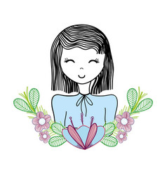 Happy woman with flowers decoration vector