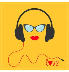 Headphones with red cord Sunglasses and lips Love vector image