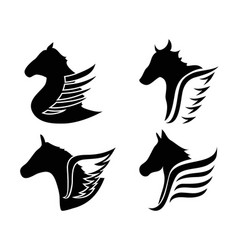 horse head wings icon symbol vector image