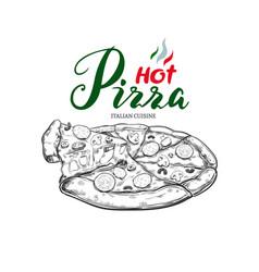 hot pizza hand drawn vector image