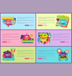 hot sale on premium quality products web pages set vector image