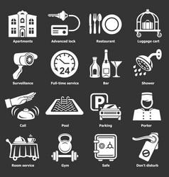 Hotel service icons set grey vector