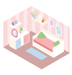 isometric room interior apartment in pink colors vector image