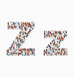 Large group people in letter z form vector