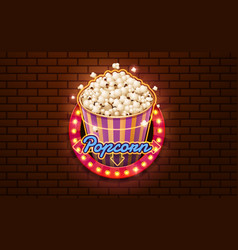 light sign popcorn brickwall background vector image