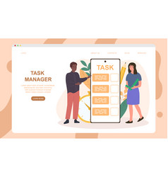 Male and female characters are managing tasks vector