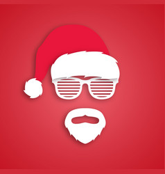 man hipster in santa claus hat paper art style vector image