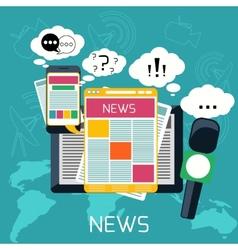 Mass media concept news radio newspaper vector