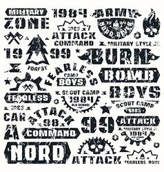 Military typographic elements vector