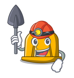 miner construction helmet mascot cartoon vector image