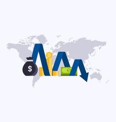 money loss cartoon cash with down arrow stocks vector image