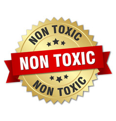 Non toxic round isolated gold badge vector