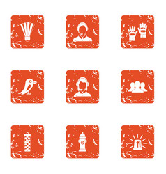 Notice icons set grunge style vector
