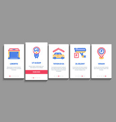 parking car onboarding elements icons set vector image