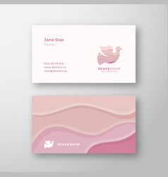pink waves peace dove abstract sign or logo vector image
