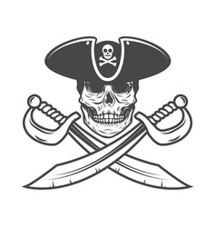 Pirate skull with crossed sabers design element vector