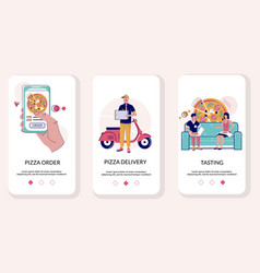 Pizza online mobile app onboarding screens vector