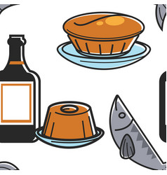 portuguese food and drink pie jelly and fish vector image