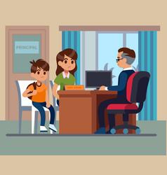 Principal school parents kids teacher meeting in vector