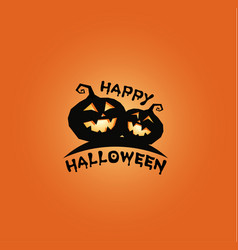 Pumkins black silhouette happy halloween banner vector