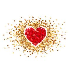 purple heart in frame little golden confetti vector image
