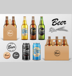 realistic set glass beer bottle in packaging vector image