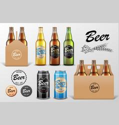 Realistic set glass beer bottle in packaging vector