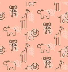 Safari animals kid seamless pattern vector