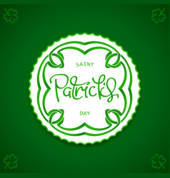 saint patricks day label vector image