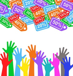 Sale labels background and colorful hands - sale vector