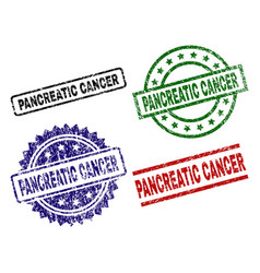 Scratched textured pancreatic cancer seal stamps vector