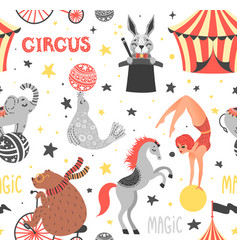 Seamless pattern of circus animal vector