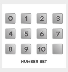 set black number in gradient gray square shape vector image