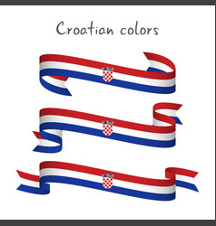 Set of three ribbons with the croatian tricolor vector