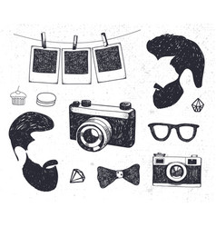 set vintage styled design hipster stuff vector image