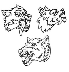 set wolf in line style design element vector image