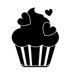 silhouette cup cake love vector image