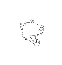 Single continuous line drawing angry tasmanian vector