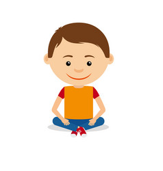 Smiling little boy sitting on floor vector
