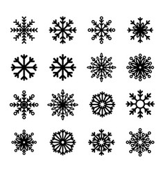 snowflake winter set collection isolated on white vector image